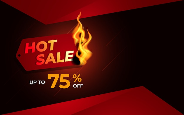 Hot sale background template with burning label Premium Vector