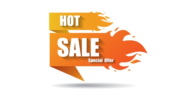 Hot sale fire special price offer deal labels banner templates Premium Vector