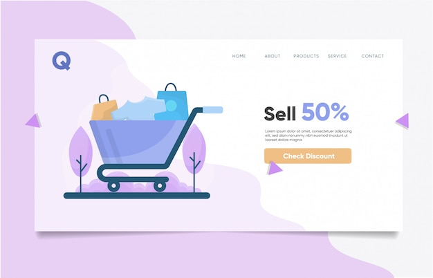 Hot sale landing page template Premium Vector