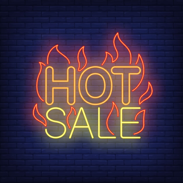 Hot sale with flames neon sign. Free Vector