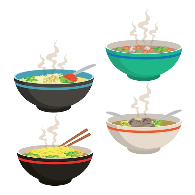 Hot soup in chinese bowl Premium Vector