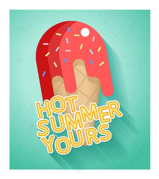 Горячая летняя распродажа баннер шаблон с мороженым в плоском стиле Бесплатные векторы