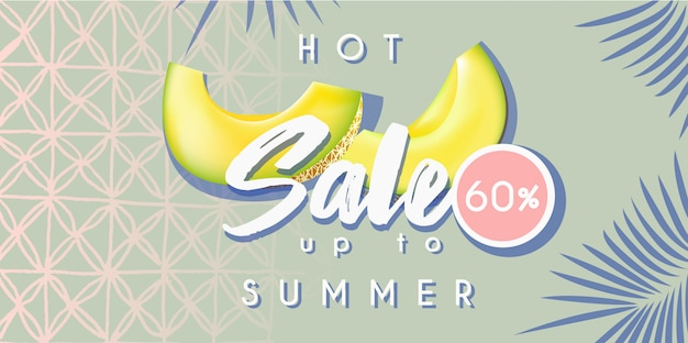 Hot summer sale banner with melon Premium Vector