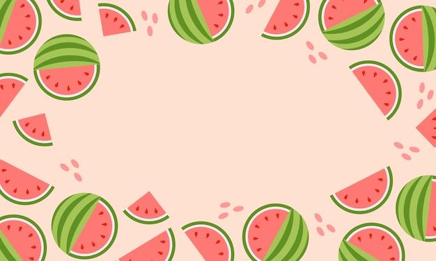 Hot summer sale banner with watermelon. Premium Vector