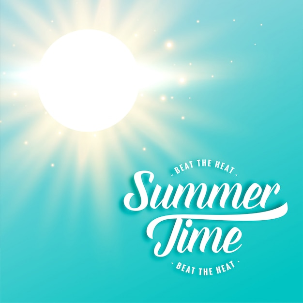 Hot sunny summer background with bright sun rays Free Vector