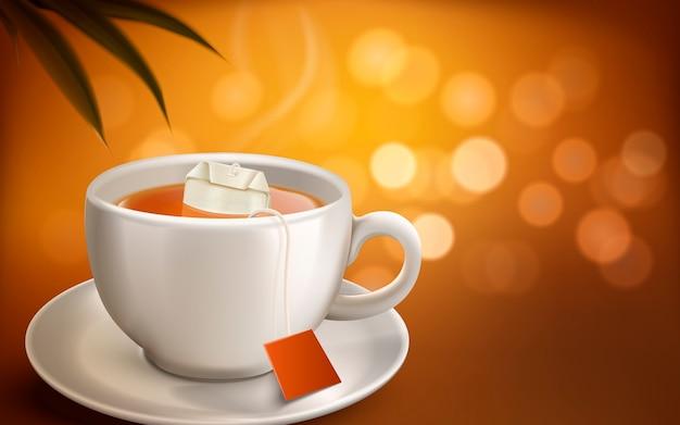 Горячий чай и чайный пакетик реалистичная белая чашка с дымом, размытый фон Premium векторы