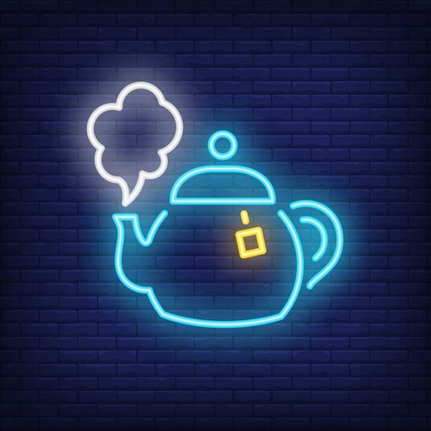 Hot tea pot neon sign Free Vector