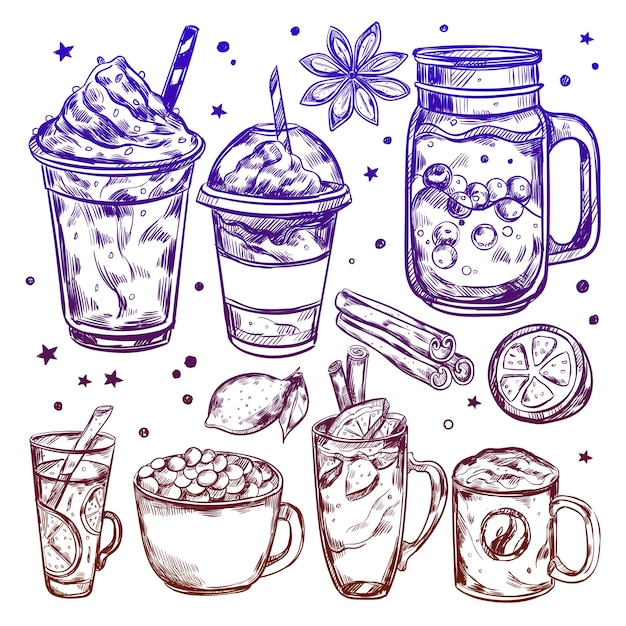Hot winter drinks elements set Free Vector
