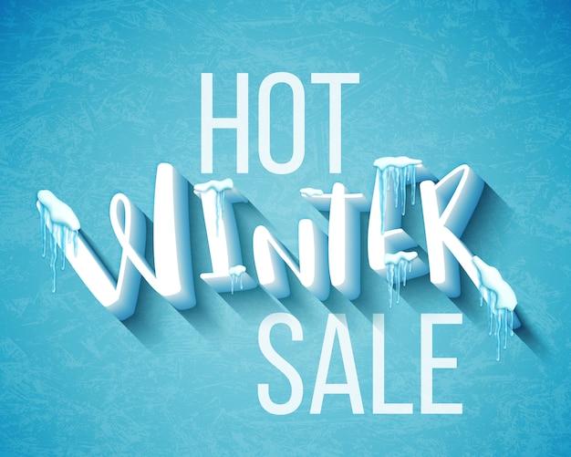 Hot winter sale banner Premium Vector