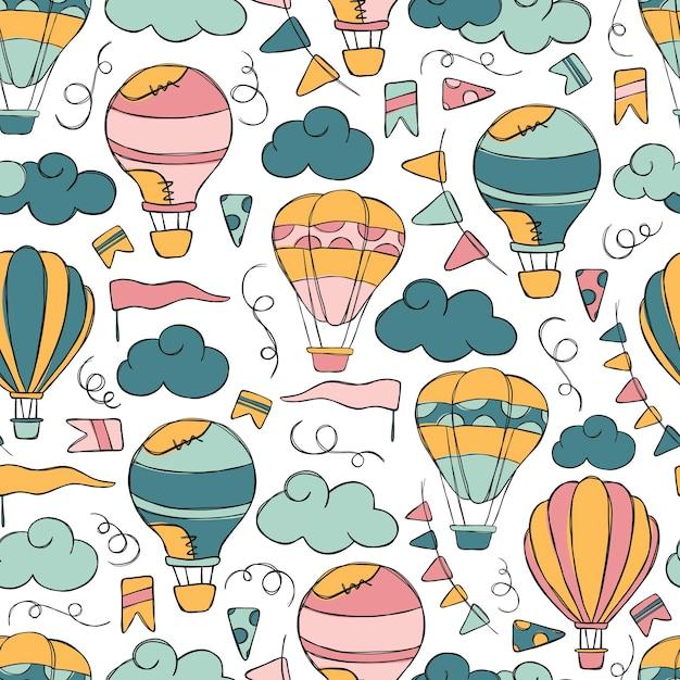 Hotairballon doodle vector seamless pattern. Premium Vector