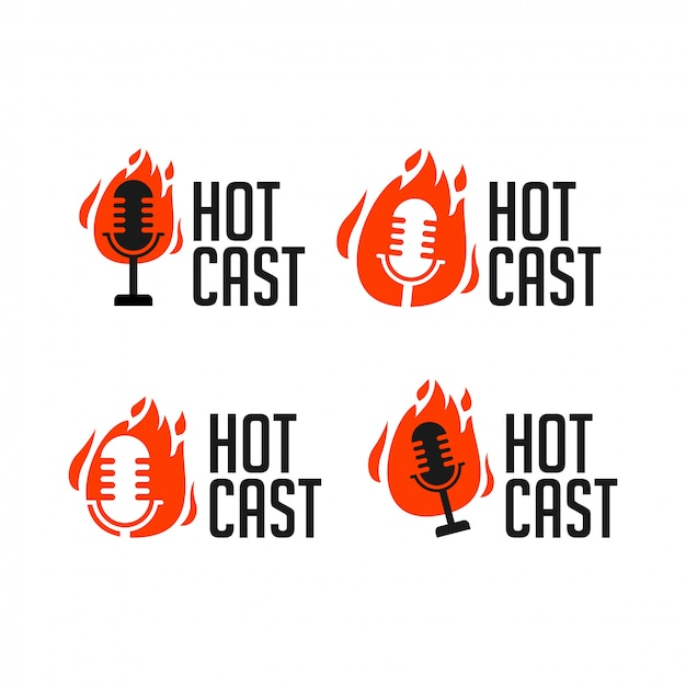 Hotcast podcast radio icon logo illustration Premium Vector