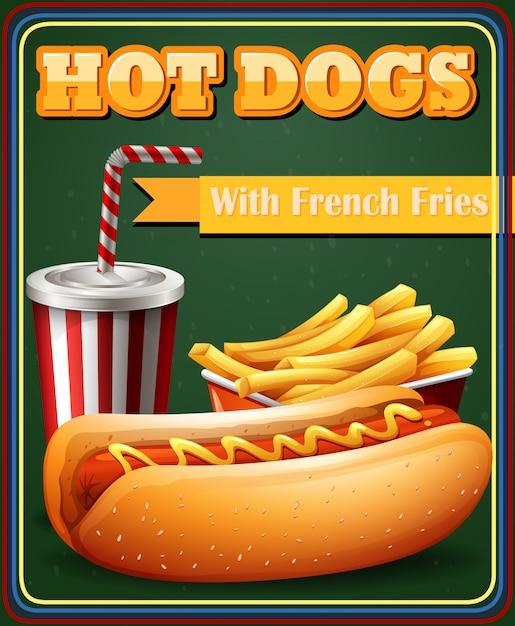 Хот-дог и картофель фри в меню плаката Бесплатные векторы