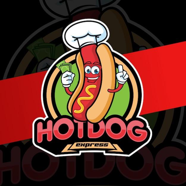 Hotdog mascot logo design character Premium Vector