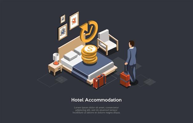 ホテル宿泊コンセプト。ビジネスマンはホテルにチェックインまたはチェックアウトします。 Premiumベクター