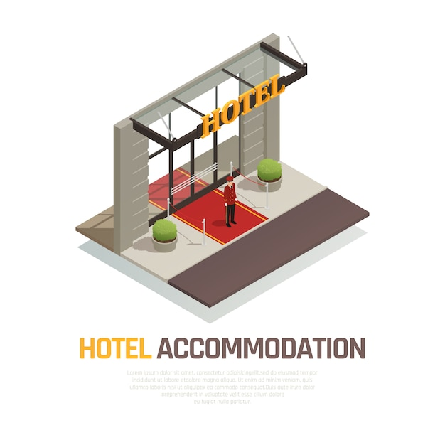 Hotel accommodation isometric composition with doorkeeper in uniform standing on red carpet near entrance Free Vector