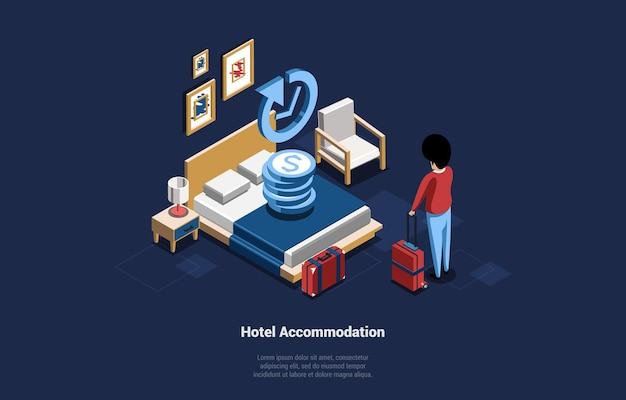 Hotel accommodation service concept vector illustration in cartoon 3d style. isometric composition of man character standing with suitcases near bed in daily rented living room. dark background, text. Premium Vector