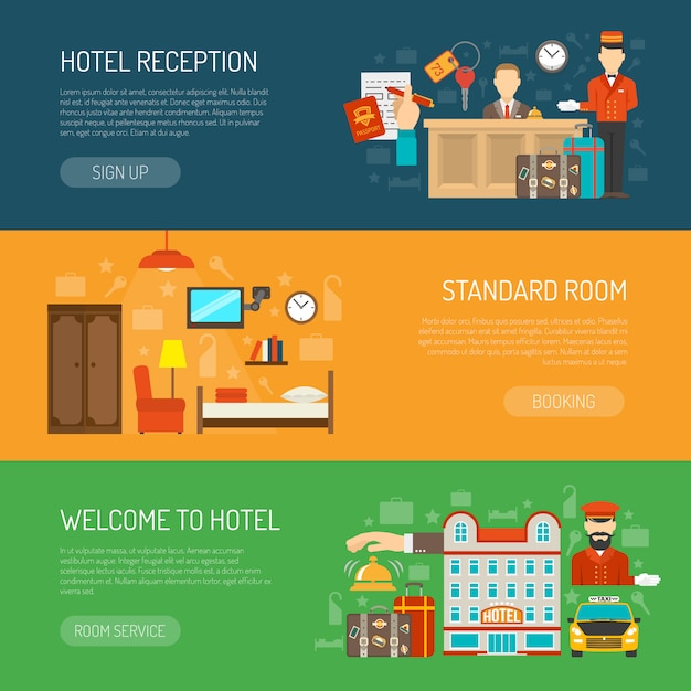 Free Vector Hotel Banner Set