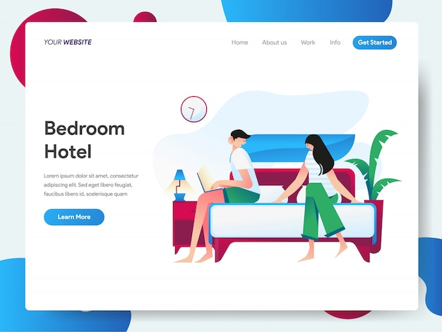 Hotel bedroom banner for landing page Premium Vector