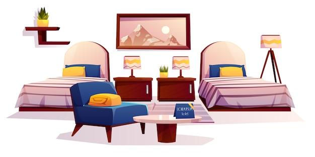 Мебель для гостиничных спален, предметы интерьера квартир Бесплатные векторы
