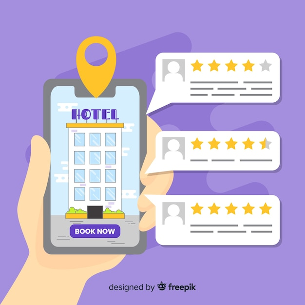 Hotel booking app background Free Vector