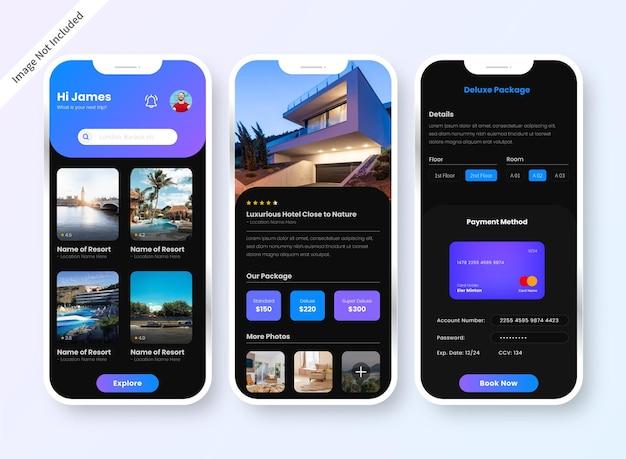 호텔 예약 앱 Ui 디자인 화면 프리미엄 벡터