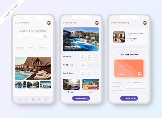 Экран дизайна пользовательского интерфейса приложения для бронирования отелей Бесплатные векторы