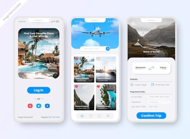 호텔 예약 앱 ui 디자인 화면 무료 벡터