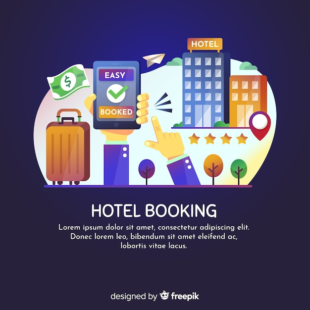 Hotel booking background template Free Vector