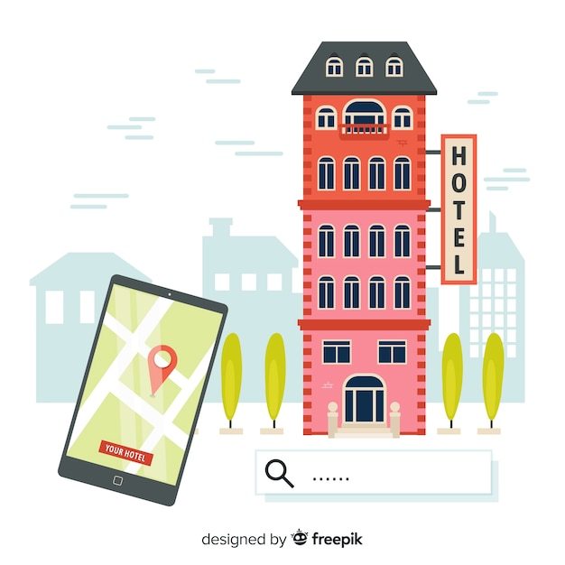 Hotel booking background Free Vector
