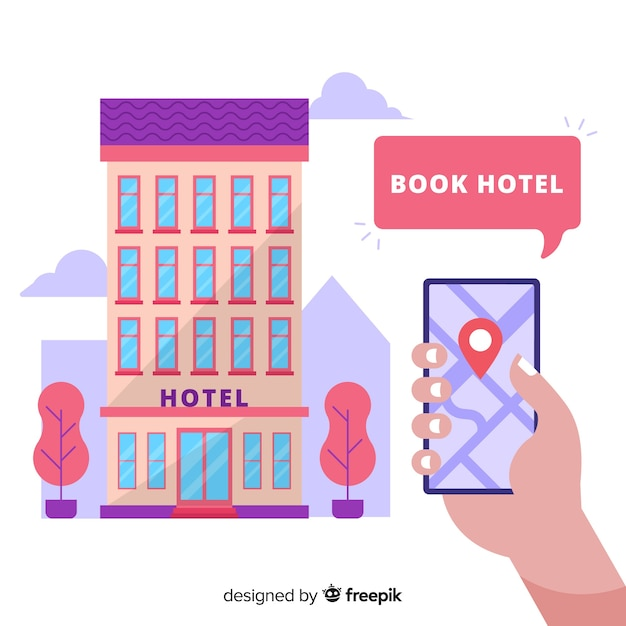 Hotel booking concept background Free Vector