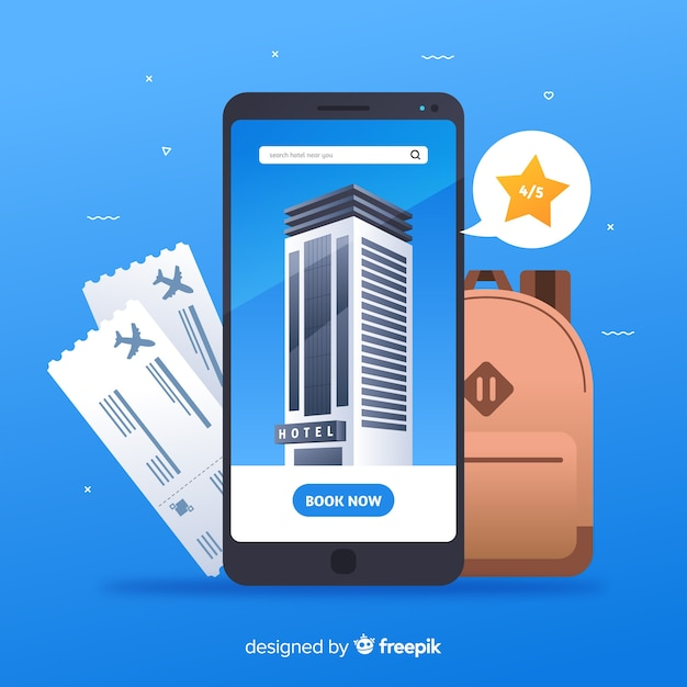 Hotel booking concept in flat style Free Vector