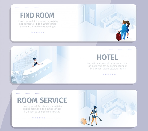 Hotel booking find room cleaning service banners Premium Vector