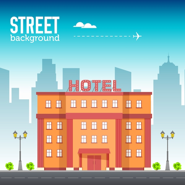 Hotel building in city space with road on flat syle background concept Premium Vector