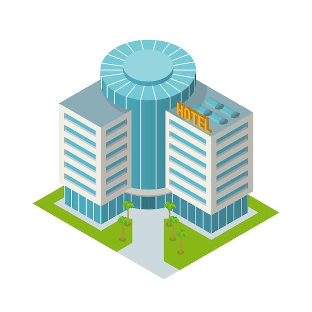 Hotel building isometric Free Vector