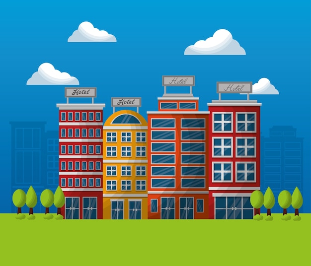 Hotel building service sunny day clouds lodging trees city Vector