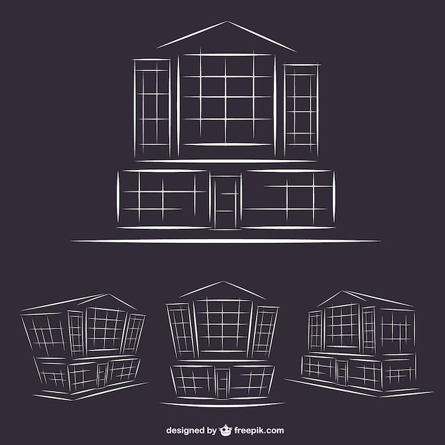 Line Art Building : Hotel buildings line art graphics vector free download