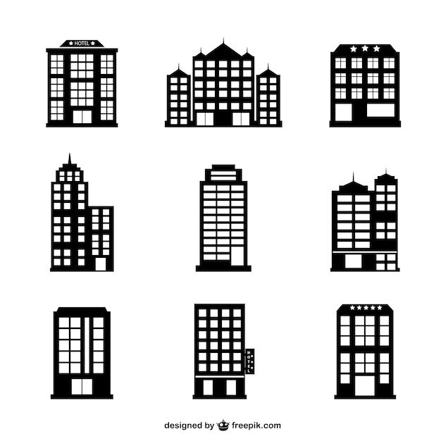 Hotel buildings silhouettes set Free Vector