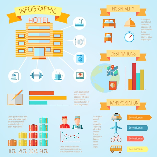 Hotel color travel tourism holiday infographics\ with bar charts and ribbons