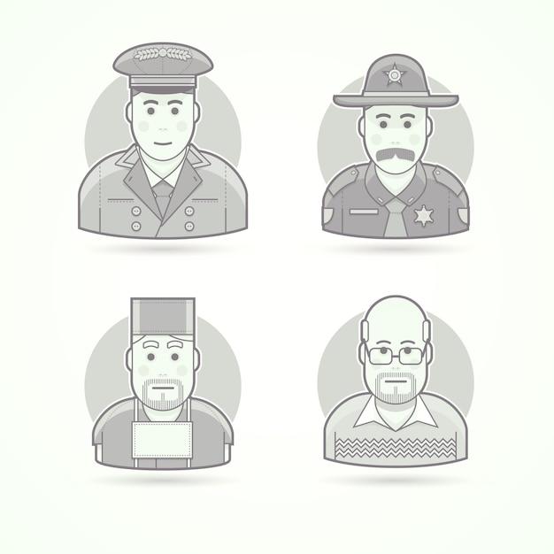 Швейцар отеля, техасский полицейский, хирург, школьный учитель. набор иллюстраций персонажей, аватаров и людей. черно-белый обрисованный в общих чертах стиль. Premium векторы
