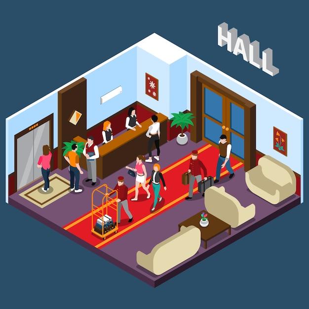 Hotel hall isometric illustration Free Vector
