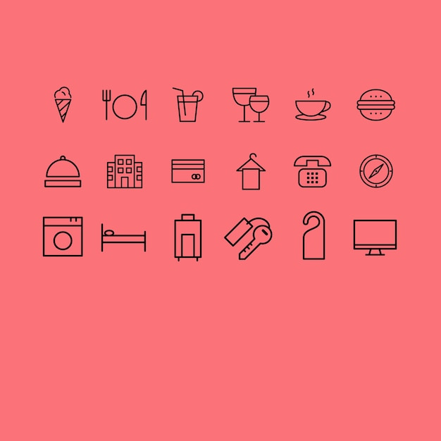 Hotel Icons Collection Free Vector