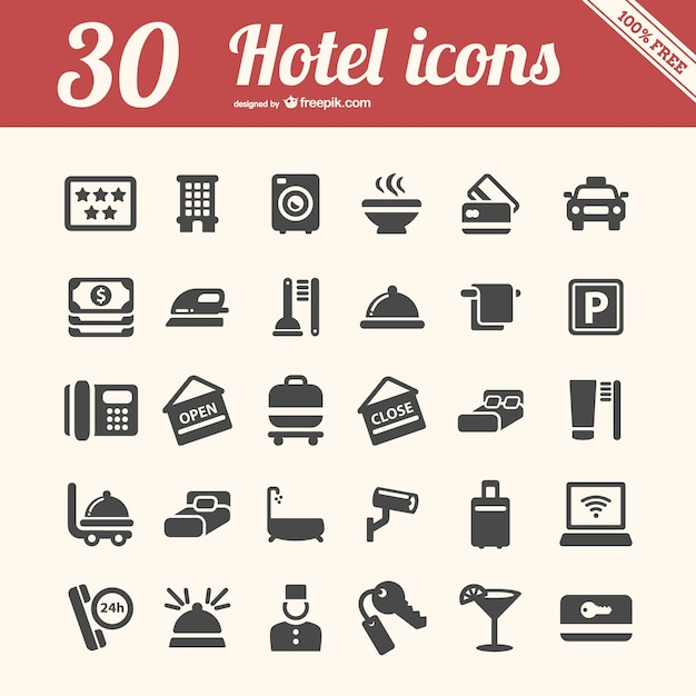 Hotel icons pack Free Vector