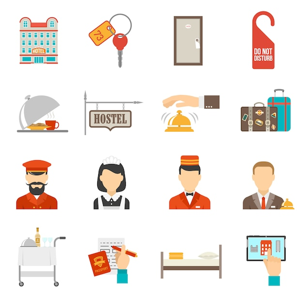 Hotel icons set Free Vector