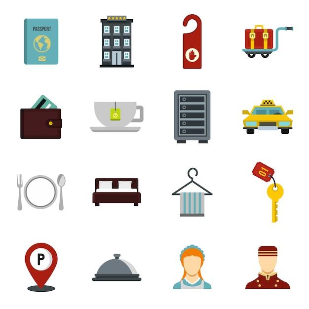 Hotel icons set. Premium Vector