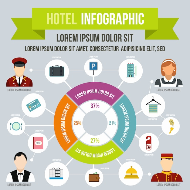 Hotel infographic in flat style for any design Premium Vector