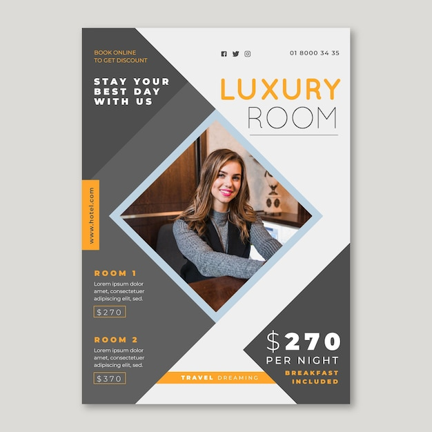 Hotel information flyer template with photo Free Vector