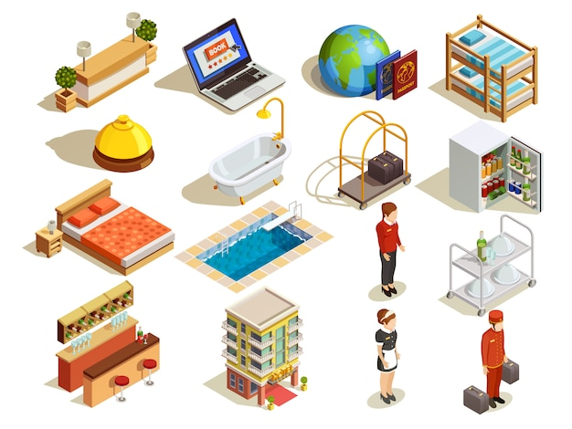 Hotel isometric elements set Free Vector