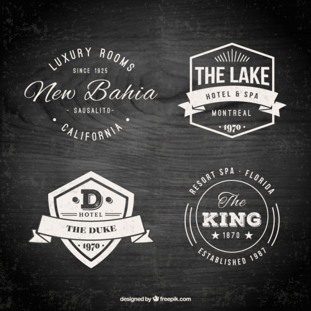 hotel logo templates in a retro style vector free download. Black Bedroom Furniture Sets. Home Design Ideas