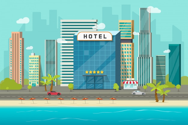 Hotel near sea or ocean resort view vector illustration, flat cartoon hotel building on beach, street road and big skyscrapers town landscape, font view cityscape panorama Premium Vector