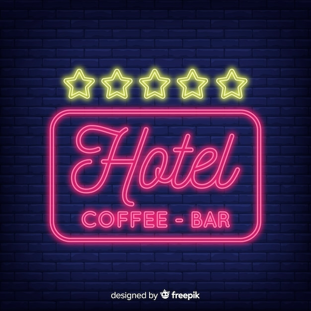 Hotel neon sign background Free Vector